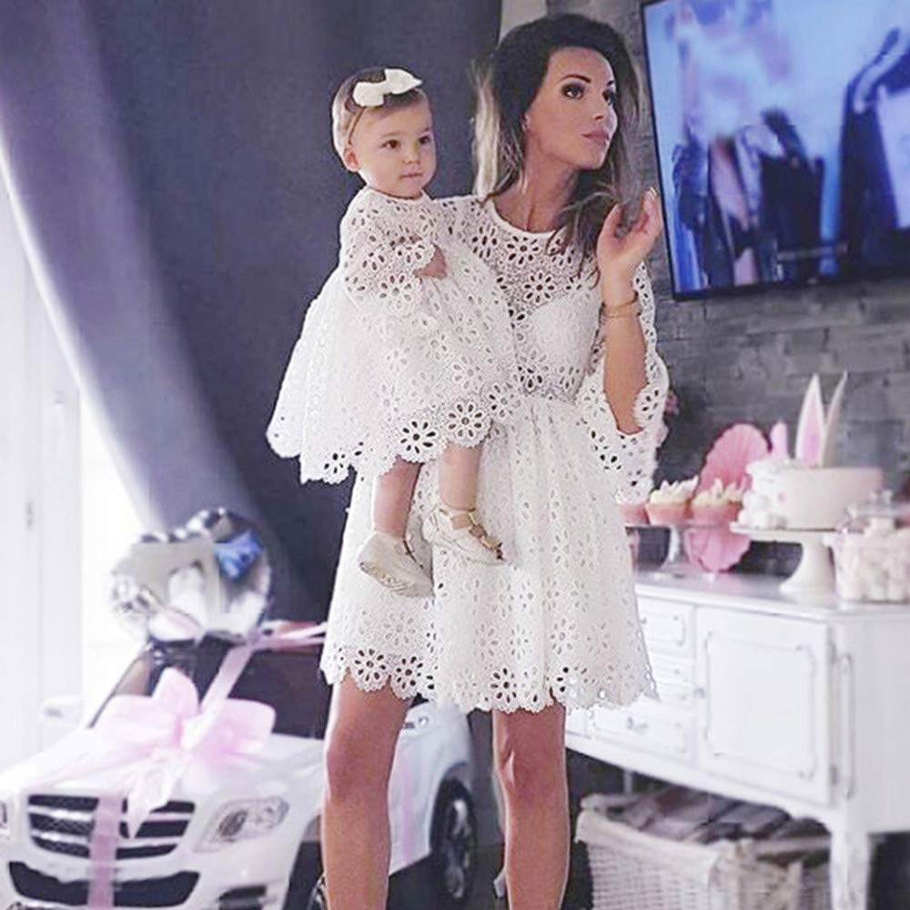 Xumilala Mom & Me Baby M/ädchen Kinder Lace Match Tochter Familie Kleid Kleidung Kleider