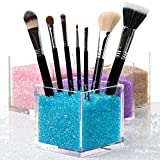 Cosmetic Organizer & Makeup Organizer with BLUE Crystals. Salon Quality Acrylic Makeup Brushes Holder with Blue Diamond Beads. Also Available in Other Colors