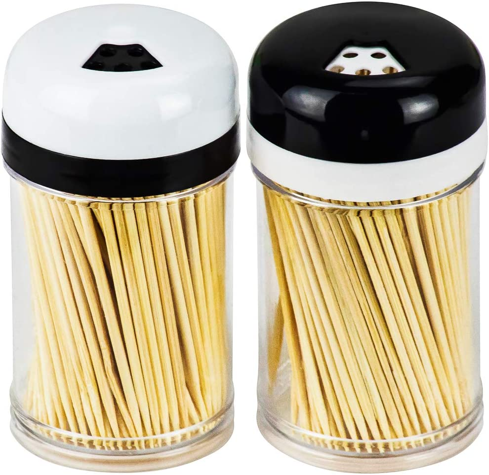 DecorRack 2 Toothpick Dispensers with 400 Natural Wood Toothpicks for Teeth Cleaning, Holding Small Appetizers, Cocktails, and Crafts, Plastic Toothpick Holder with Adjustable Pour Holes (Set of 2)