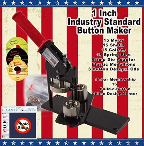 """1"""" Button Maker Machine + 15 Complete Pinback Button Sets + Cds + Software From American Button Machines"""