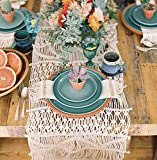 Flber Macrame Table Runners Handwoven Boho Wedding Table Decoration Bedding Blanket,13.8''x 118''