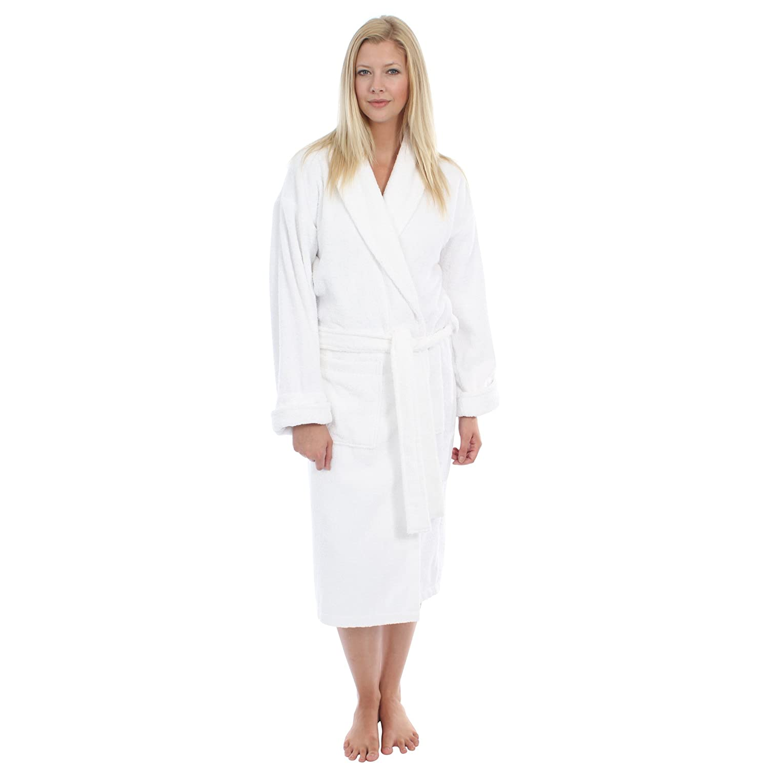 Ladies 100% Cotton Towelling Bath Robe   Dressing Gown. Pink or White.  Sizes S M L XL 653807e48
