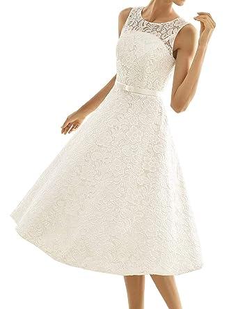 new concept 04666 033c5 Kurze Brautkleider Spitze Vintage A-Linie Schlichte Hochzeitskleider  Standesamt Wadenlang Cocktailkleider Partykleider