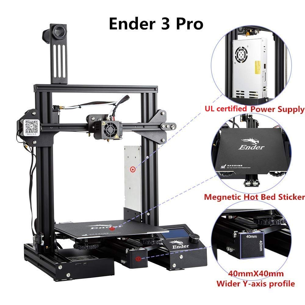 Creality Ender 3 Pro 3D Printer with Upgrade Cmagnet Build Surface Plate and UL Certified Power Supply 8.6 x 8.6 x 9.8 for Teenage Use