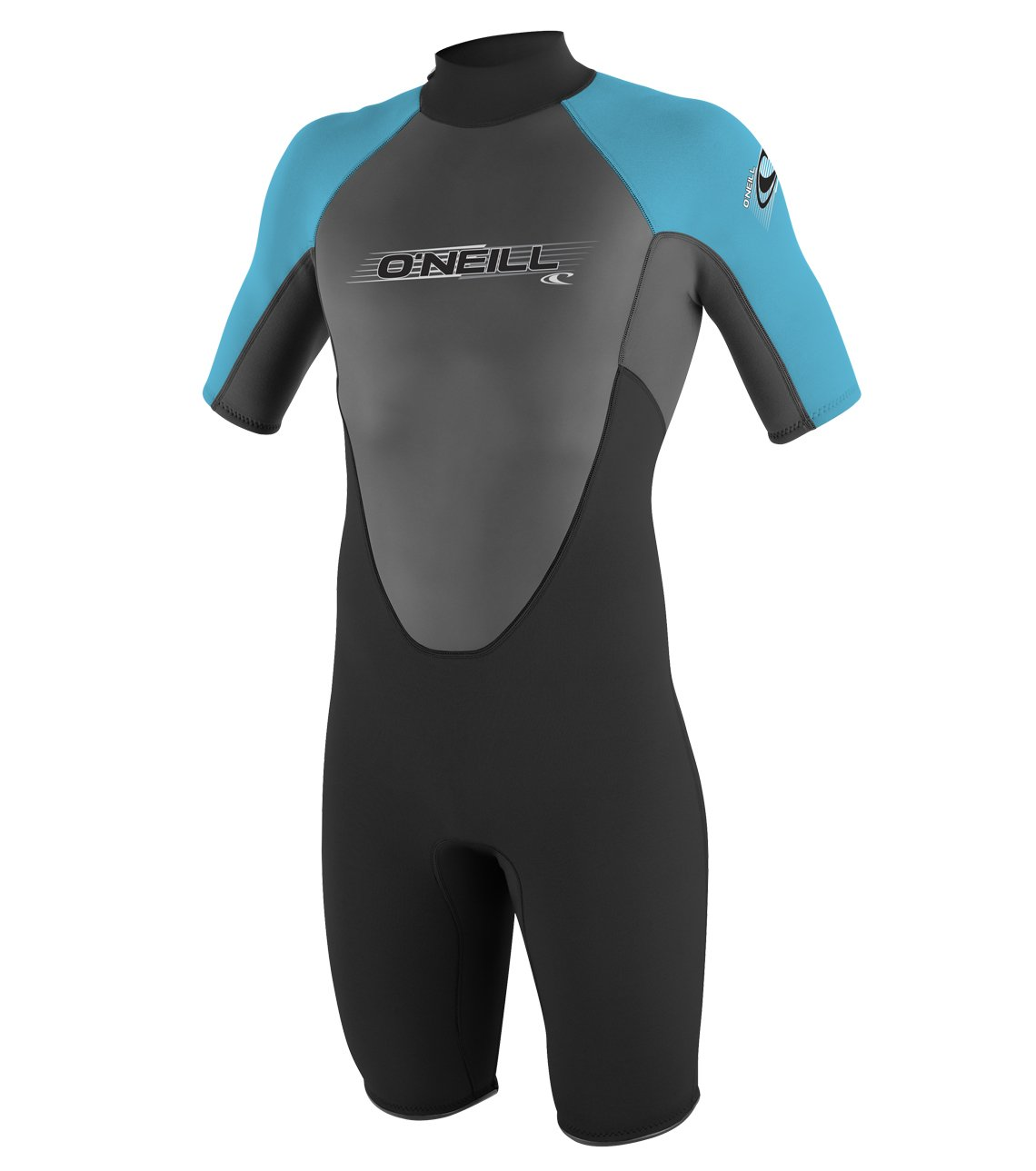 O'Neill Youth Reactor 2mm Back Zip Spring Wetsuit, Black/Graphite/Turquoise, 8 by O'Neill Wetsuits