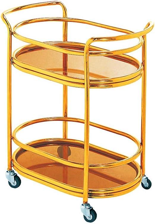 3 Ablagen K/üchenwagen aus Bambus Haushaltswagen 32 x 61 x 73 cm Grundfarbe Badwagen mit 4 Universalr/äder
