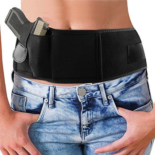 [Patrocinado] Vientre banda cartuchera para Concealed Carry, vanzon Abdomen Cintura Holster con Soporte para pistola de mano elástica, cartuchera para pistolas revólveres para hombres y mujeres...