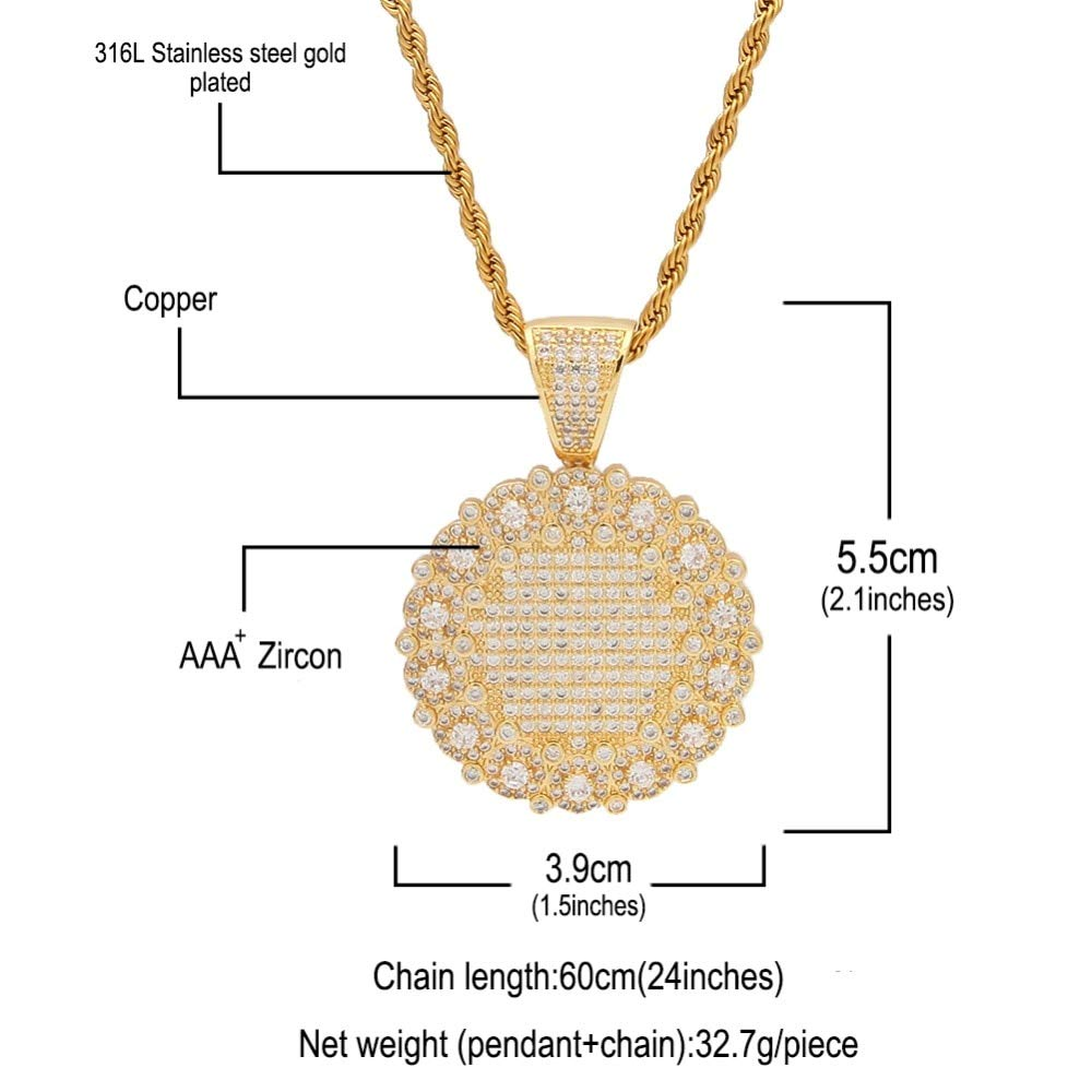 Metal Color: Double Color, Length: 30inch Rope Chain Davitu Micro Paved Cubic Zirconia Round Medallion Pendant Necklace Hip Hop Copper Jewelry for Men Women
