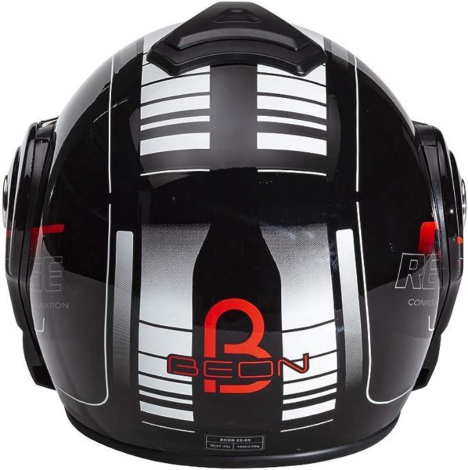 Amazon.es: Beon B702 Reverse - Casco de motocicleta modular, en color negro brillante