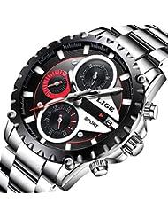 Mens Watch Stainless Steel Silver Strap Watches Waterproof LIGE Analog Quartz Business Dress WristWatch Chronograph...