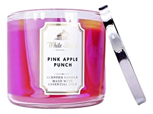 Bath & Body Works White Barn Pink Apple Punch 3 Wick Scented Candle with Essential Oils 14.5 oz / 411 g