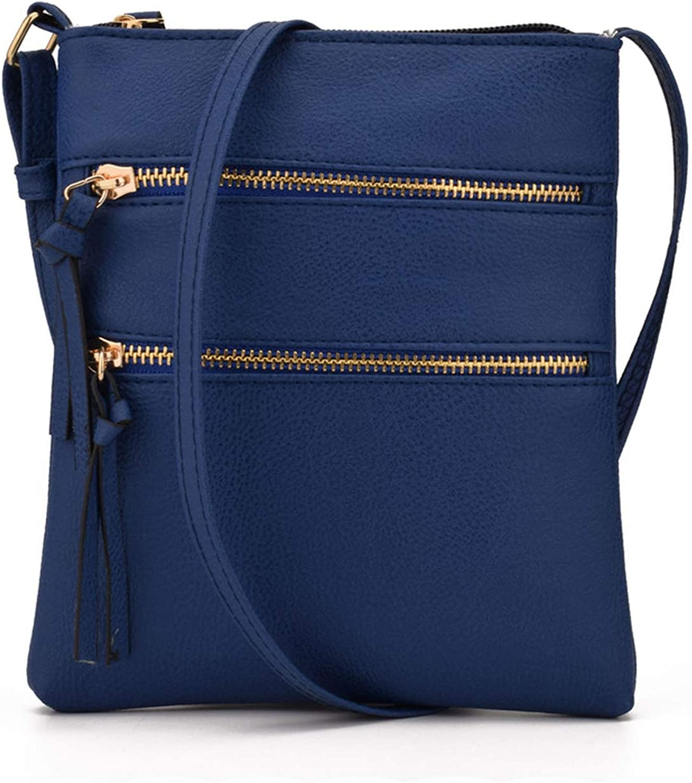 Chibi-store Multi-Pocket Double Zipper Designer Women PU Leather Shoulder Bags Satchel Handbag