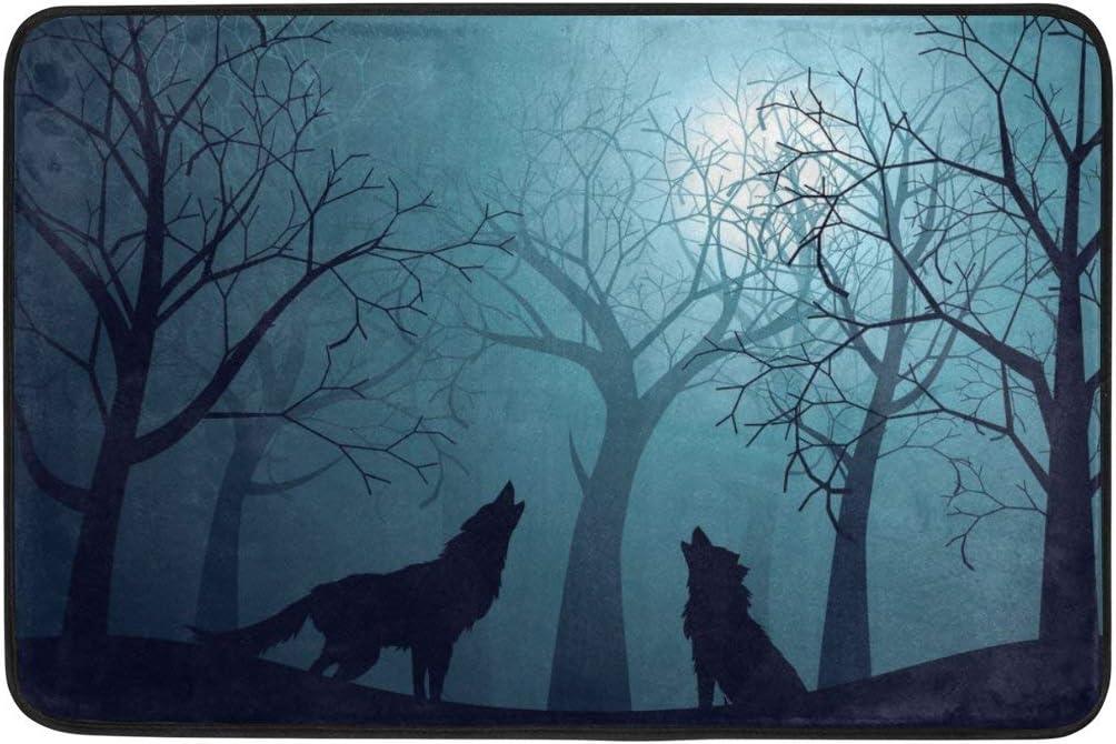 Amazon De Happy Halloween Wolf Forest Non Slip Doormat Doormats Area Rug For Entrance Way Front Door
