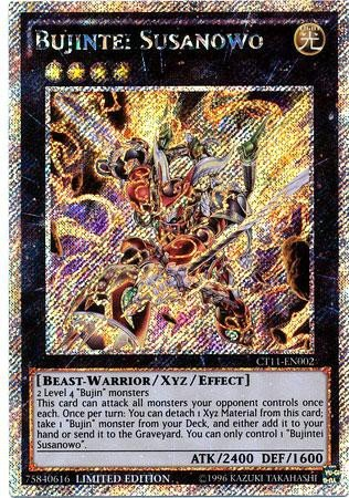 Limited Edition Rare Card - Yugioh Bujintei Susanowo CT11-EN002 Platinum Secret Rare Limited Edition Card