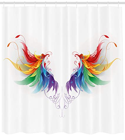Ambesonne Rainbow Shower Curtain Realistic Looking Feathers In Color Forming Wings Flight Angels Symmetrical