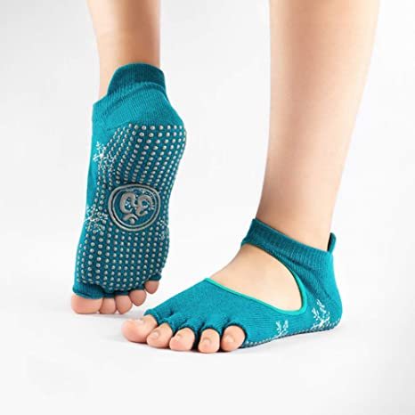 DYJILE Calcetines Antideslizantes de Yoga Profesional Backless Puntera Abierta Deportes Calcetines, para Pilates Bikram Ballet