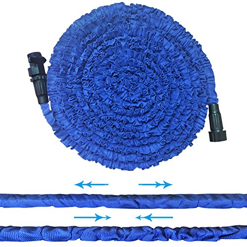 Garden Hose, Water Hose, Upgraded 25ft Lightweight Expandable Water Hose with 3/4 Solid Fittings, Double Layer Latex Retractable Collapsible, Extra Strength Fabric Flexible Expanding to 3 Times,Blue