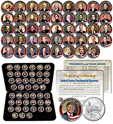 ALL 43 United States PRESIDENTS 43-Coin Full Set Colorized DC Quarters w/Box