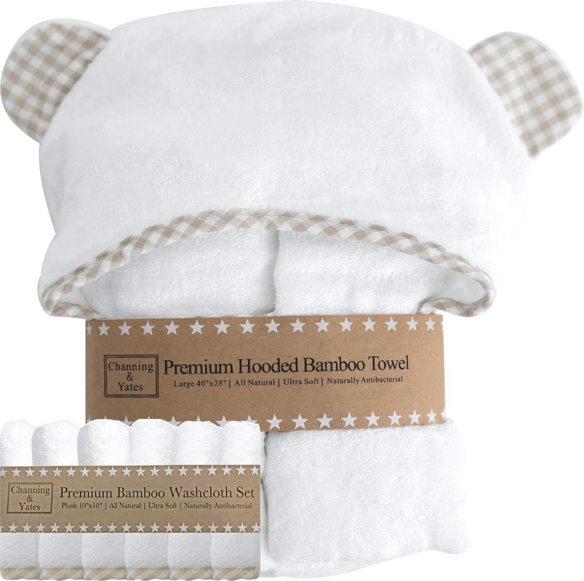 blau Channing /& Yates baby-handt/ücher f/ür jungen mit kapuze baby-handtuch und waschlappen set bio-bambus-baby-handt/ücher mit kapuze -