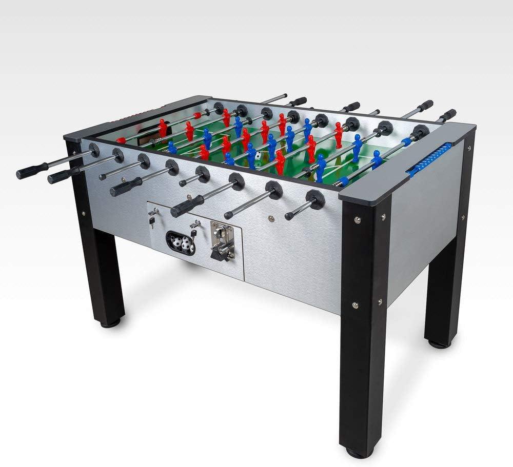 Devessport - Futbolín con Monedero Ideal para Jugar con Amigos - Gran tamaño - Barras de Aluminio - Retorno de Bolas - Dispone de marcadores - Medidas: 139 x 77 x 92 Cm