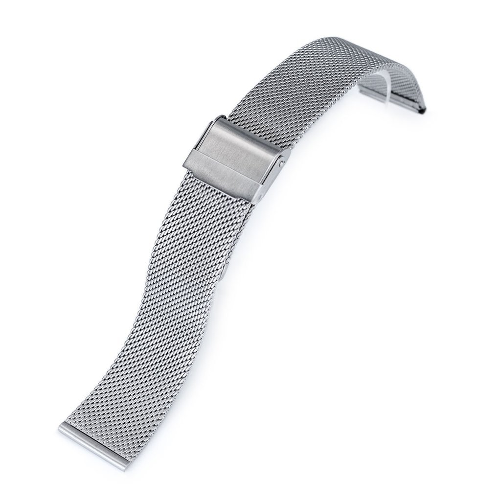 22mm Classic Vintage Knitted Superfine Wire Mesh Watch Band, Brushed