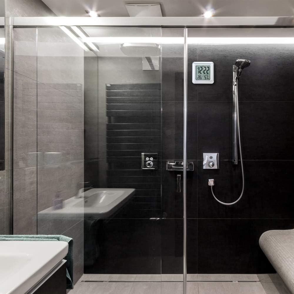 Iadong Digitale Badezimmer Duschuhr, große wasserdichte Wanduhr,  Thermometer & Hygrometer Temperatur Feuchtemessgerät mit 18 Saugnäpfen und  Halterungen
