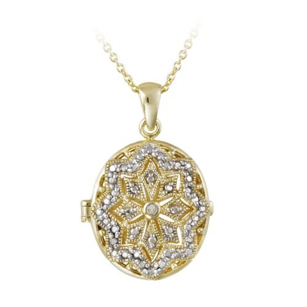 18K Gold over Sterling Silver Diamond Accent Filigree Oval Locket Necklace Royal Design PG12293
