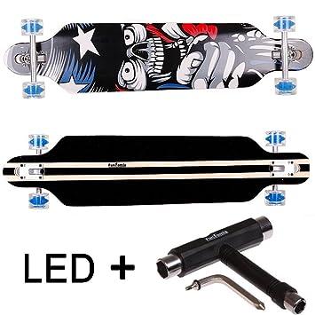 FunTomia® Freerider Longboard monopatín - 107cm x 26cm - rodamientos Mach1® - Hecho con 9 Capas de Madera de Arce (América/con LED Ruedas): Amazon.es: ...
