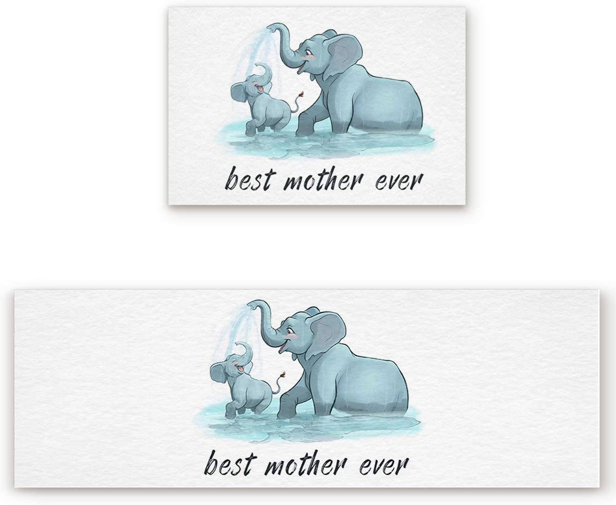 Kitchen Rug and Mats 2 Piece, Mother's day,Best Mother Ever,Elephant Playing in Water Kitchen Mat Comfort Doormats, Non-Skid Washable Standing Runner Rug Set, 23.6 x 35.4in + 23.6 x 70.9in
