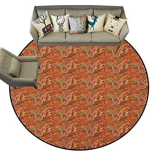 - Orange,Mat Traditional Old Fashioned Paisley Pattern Floral Design with Leaves D54 Indoor/Outdoor Rubber Mat