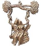Apka Mart The Online Shop Metal Radha Krishna Jhula Wall Hanging (14 x 11 x 1 In, Bronze)