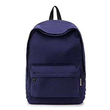 Amazon.com | Canvas Pure Color Backpack Adolescent Girl Backpack Female Women Backpack Travel Bag Rucksack Mochila Backpack Deep Blue 2 38cmx28cmx12cm ...