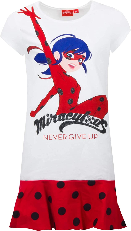 Girls//Kids Miraculous Ladybug White Childrens Nightie Nightdress Pyjamas Age 4-8 Years
