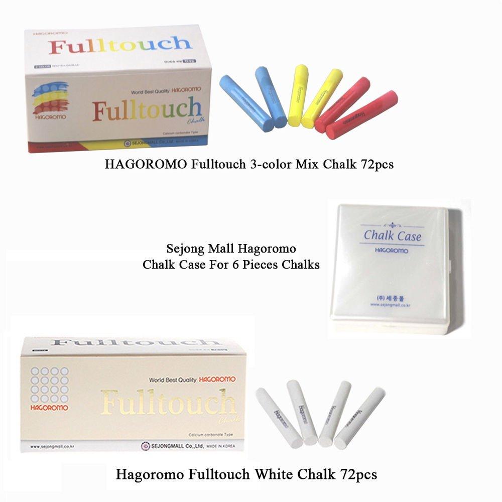 Hagoromo Fulltouch 3-Color Mix Chalk 72pcs + Hagoromo Fulltouch Chalk 72pcs (White) + Chalk Case by Hagoromo