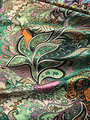 Floral Paisley Green Faux Silk Satin Fabric 48