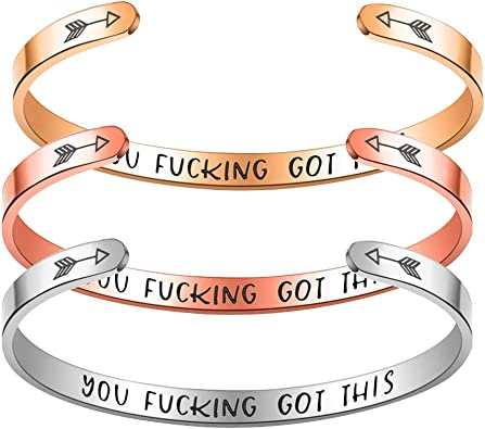Stainless Steel Cuff Bangle Letters Printed Gifts Women/'s You Fucking Got This