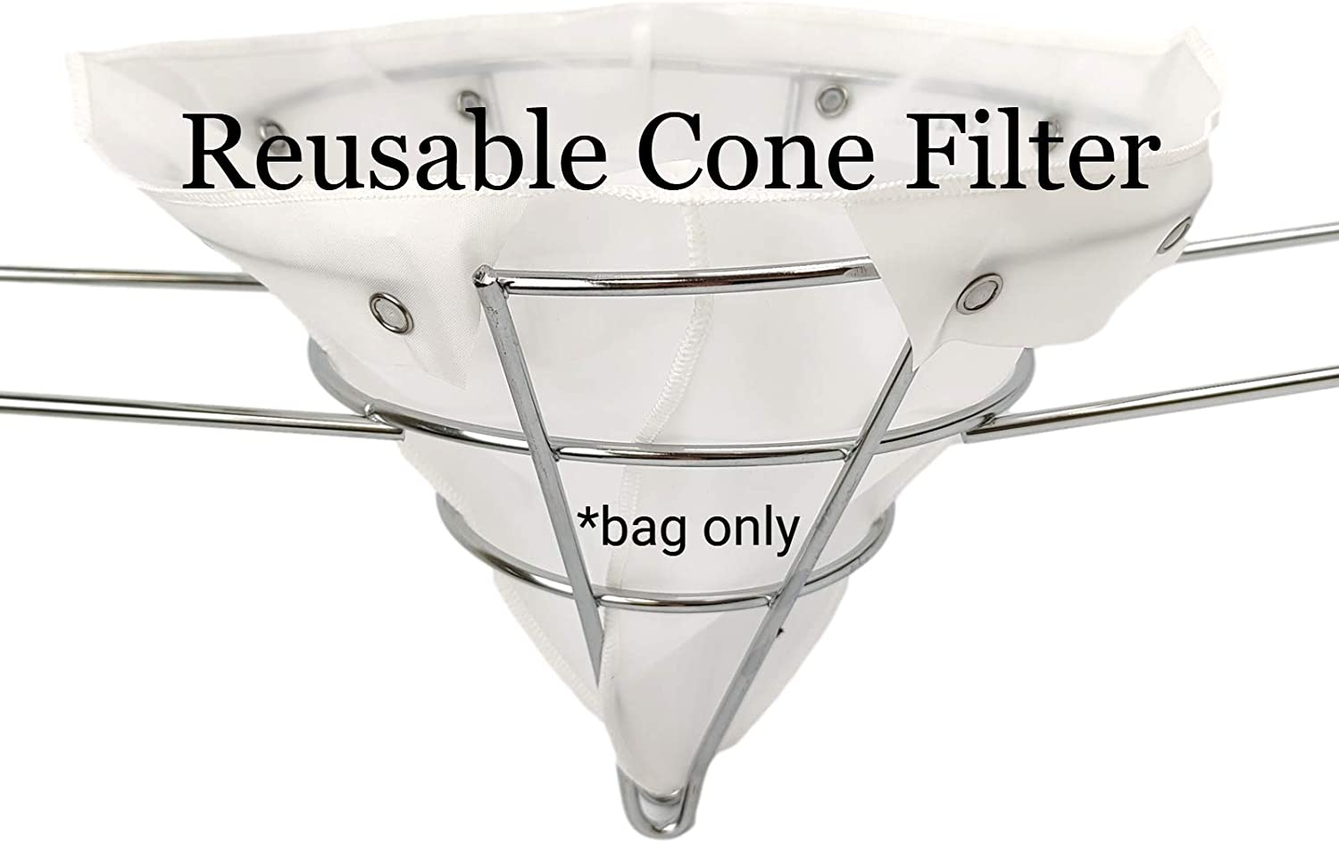 """The FryOilSaver Co. 10"""" Reusable Cone Filter Bag for Frying Oil 