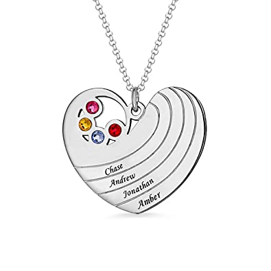 Amazon com: Moms Family Birthstone Heart Necklace with 4