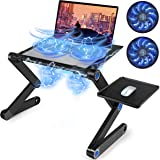 SEASKY Mesa Ordenador Portatil, Mesa Laptop Base Ajustable y Plegable,Doble Ventilador y Tablero para Mouse, Portátil Univers