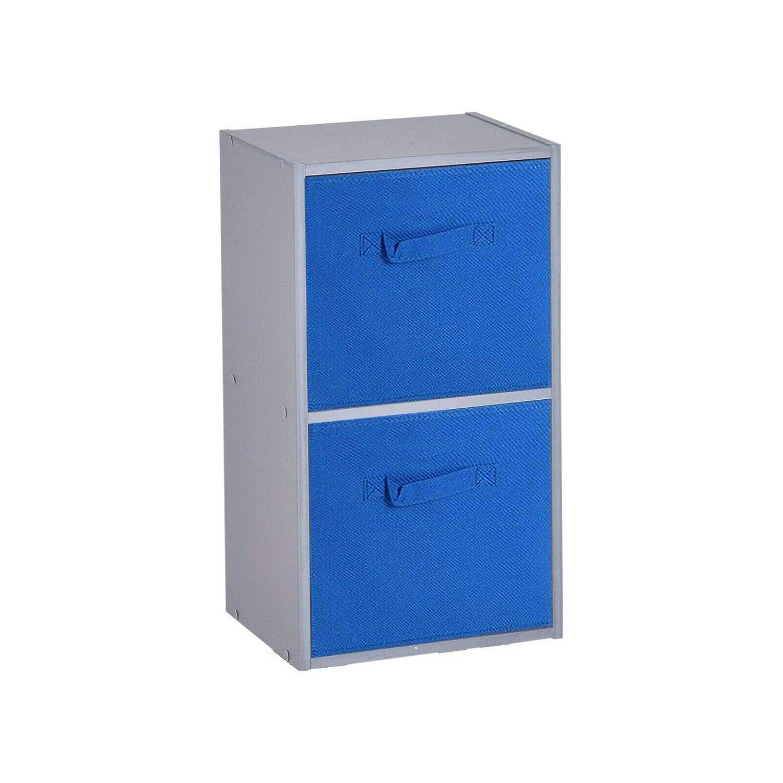 2 Ripiani Dark Blue Drawer URBNLIVING Libreria in Legno Grigio Cubed cassetti