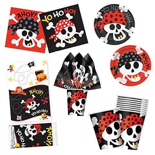 Unique Pirate Fun Party Bundle | Luncheon & Beverage Napkins, Dinner & Dessert Plates, Table Cover, Cups | Great for Adventure/Halloween/Costume Birthday Themed Parties