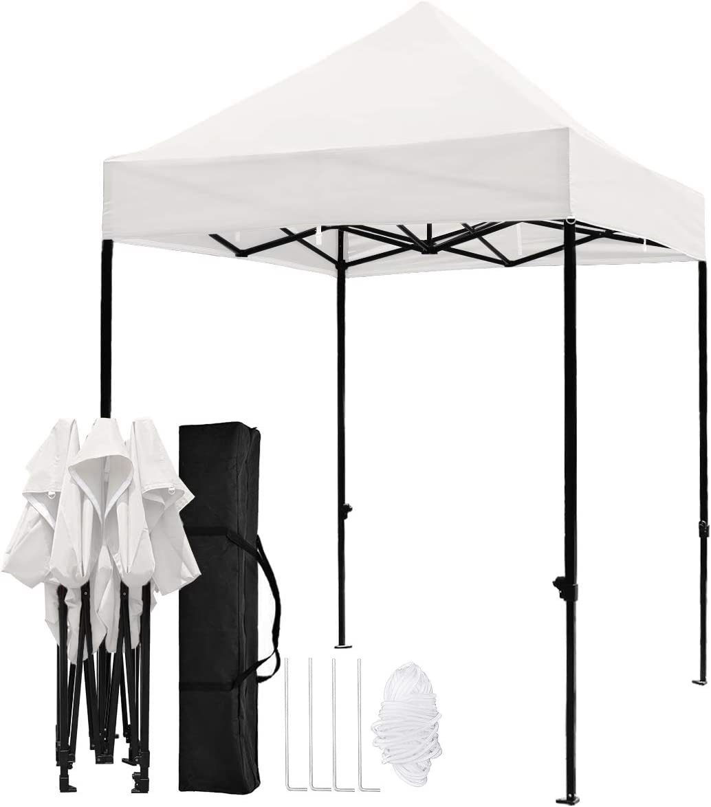 TopCamp 5 x5 Pop-up Canopy Tent, Heavy Duty Outdoor 420D Waterproof Beach Party Portable Tents Instant Sun Shelter with UV-Treated Top and Carry Bag – 5×5 Ft White