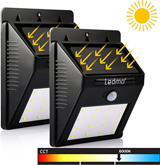 2 Pack Luz Solar LED, 16 LED Lámpara Solar LED, blanco 6000K PIR ...