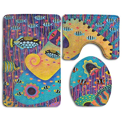 - CoolToiletLidCoverCC My Wife Acrylic Oil Pastel Bathroom Rug 3 Piece Bath Mat Set Contour Rug and Lid Cover