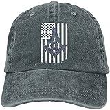 Enpengd Freemason USA Flag Logo Newest Men & Women Adjustable Denim Cotton Baseball Hats Black