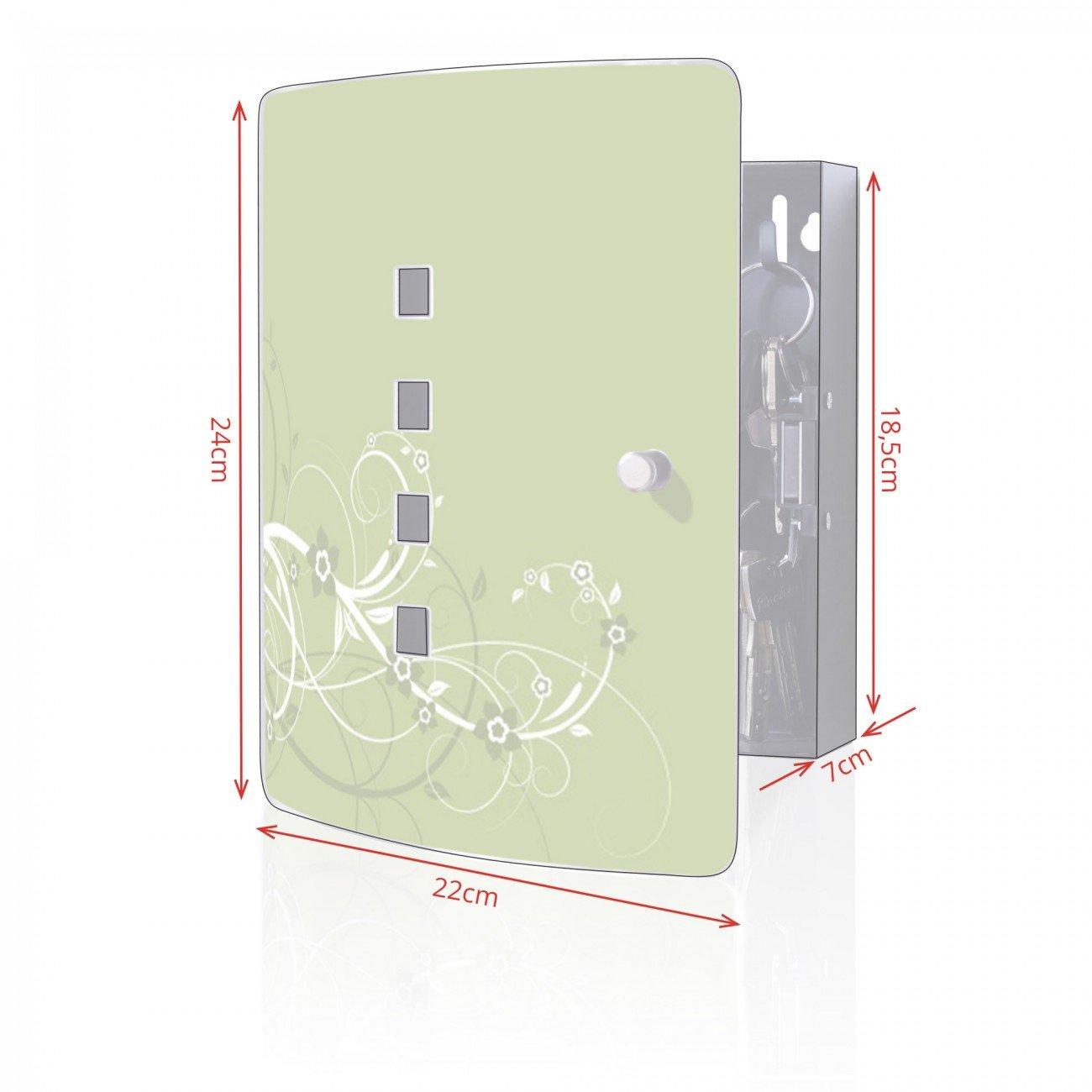 10 Haken f/ür Schl/üssel 24x21,5cm Motiv Gr/üne Bl/üten praktischer Magnetverschluss banjado Design Schl/üsselkasten aus Edelstahl