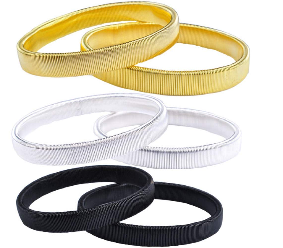 Anti Slip Armbands Elastic Shirt Sleeve Holders Metal for Band Stretch Garters (6 Pcs)