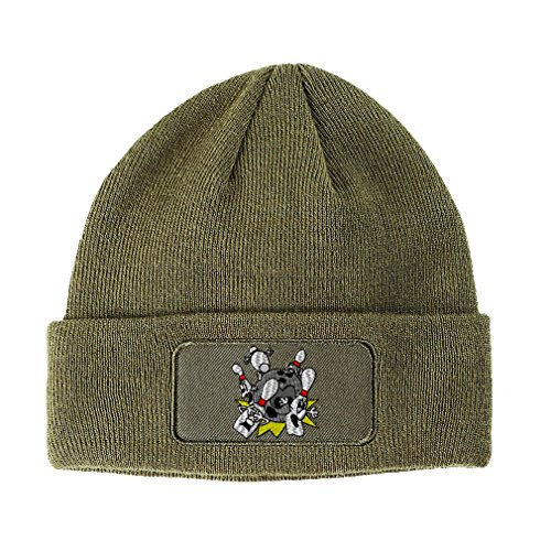 Speedy Pros Sport Bowling Big Splash Logo Embroidery Unisex Adult Acrylic Double Layer Patch Beanie Skully Hat - Olive Green, One Size