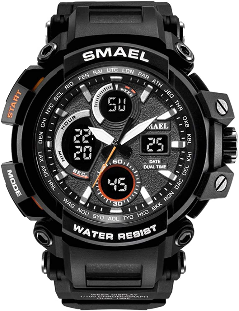 Men s Sport Watch, Dual Quartz Movement with Analog-Digital Display and EL Backlight Watch for Men