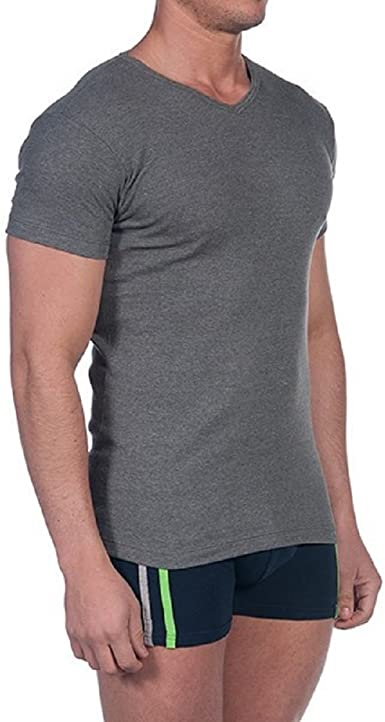 camiseta interior hombre manga corta cuello pico color gris ...
